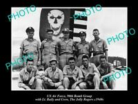 OLD POSTCARD SIZE PHOTO OF US AIR FORCE 90th BOMB GROUP JOLLY ROGERS c1940 1