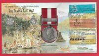 Canada General Service REPLICA Medal 2002 GB Stamp Cover Fenian Raids 1866-1870