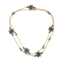 Hematite Black Rhodium-plated CZ Pave Love Open Knot Station Necklace Long Layer
