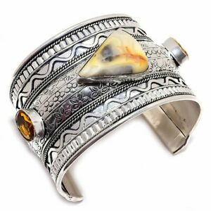 Picasso Jasper, Honey Topaz Silver Jewelry Cuff Bracelet Adjustable MQR-827