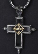 "Konstantino Men's Black Onyx Spiked Cross Pendant Necklace Sterling 18K  New 22"""