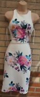 NEW LOOK WHITE PINK GREEN STRIPED QUILTED FEEL BODYCON PENCIL PARTY DRESS 8 S