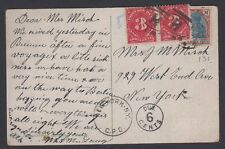 Germany-US postcard postage due at destination, two 3c stamps over German stamp