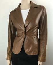 Danier Womens fitted Single  Button brown Leather Jackets Size Small UK. 12-14
