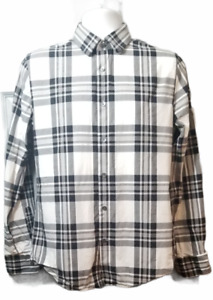 Men's Express Long Sleeve Button Down Black and White Plaid Size M Fitted
