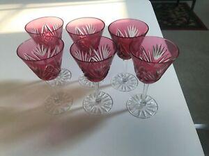 SET of 6 SUPERB Czech German DARK PINK/RED CUT CRYSTAL WINE GLASSES Stems MINT
