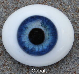 Reborn Doll Eyes, Glass Oval Flatback, Cobalt Blue 20mm