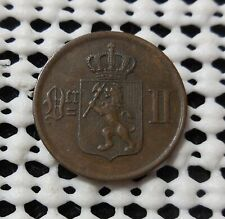 1877 NORWAY 2 ORE COIN HIGH GRADE FREE SHIPPING TO USA