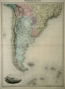 1892 Antique large map of SOUTH AMERICA: Argentina, Chile, Uruguay, Bolivia...