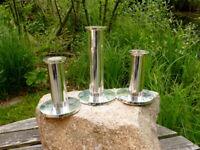 3 schöne Fink Strato Kerzenständer Kerzenleuchter Metall versilbert 12 & 18 cm