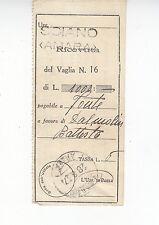 """A1116) ETIOPIA ANNULLO """"SCIANO (AMARA)"""" 28/8/37 SU RICEVUTA VAGLIA."""