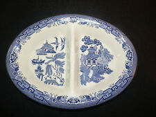 Churchill Blue Willow Pattern Oval Divided Vegetable Bowl English Pottery EUC