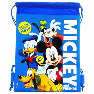 Blue Disney Mickey & Friends Drawstring Backpack Sling Tote School Gym Bag
