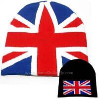 UK Flag Knit Beanie Skull Cap Winter Ski Snow Toque Tuque Union Jack British GB