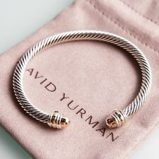 $625 David Yurman 5mm Cable Classic Bracelet with Gold Dome and 14K Gold W Pouch