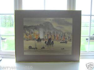 TAM SAM MOK ORIGINAL WATERCOLOUR VIEW OF HONG KONG HARBOUR 78 X 61 CM