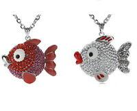 Fisch Anhänger Mehrfabig+Halskette mit Swarovski Kristall Silber Collier Ketten