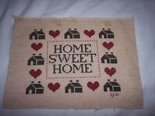 HOME SWEET HOME ~ Completed, Finished Cross Stitch ~ Country Red, Green