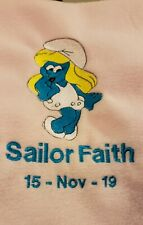 Personalized Embroidery Baby Blanket  Smurfette
