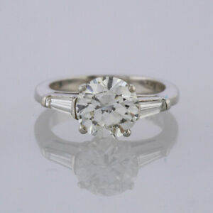 Diamond Engagement Ring - Solitaire Ring Platinum 2.71 carats Size M 1/2