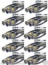 10 x 1m Mikrofonkabel XLR-XLR 3-pol sw MC-1 DMX-Kabel Mikrofon-Kabel