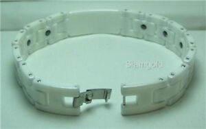 Men 14mm White High-Tech Ceramic and Tungsten Magnetic Bracelet 8.5 inches