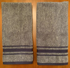 Tommy Hilfiger Luxury Set Of 2 Heather Navy Striped Hand Towels NEW
