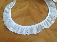 NEW 1 1/2 INCH WHITE  RUFFLED EYELET LACE FABRIC TRIM, Js Button Hole
