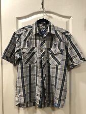 Raider Jean Co. Boys Shirt, Size Lg, Light Blue & Dark Blue, 100% Cotton