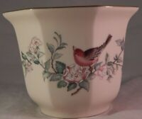 Vintage Lenox Pot Bird Flowers Serenade 24K Gold Trim