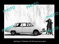 OLD POSTCARD SIZE PHOTO OF 1967 ALFA ROMEO 750 BERLINA LAUNCH PRESS PHOTO