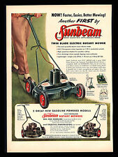 ORIGINAL 1956 SUNBEAM ROTARY LAWN MOWER  SELF-PROPELLED  VINTAGE PRINT AD