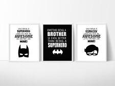 Batman Nursery Bedroom Decor Kids Wall Prints, A4 Prints, Brothers