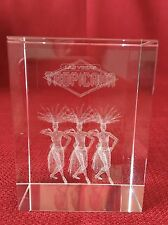 3D Laser Etched Crystal Glass Cube Las Vegas Tropicana Showgirls Paperweight