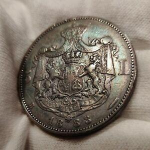 Silver Coin 5 lei 1883 Romania Carol I