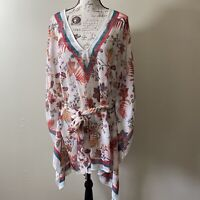 LAUREN RALPH LAUREN Swimsuit Cover-Up Leaf/floral Print Sheer Women's size L/XL