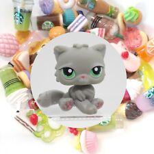 Authentic Littlest Pet Shop Grey Persian Cat 82 + *Suprise Food Items*
