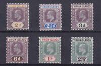 BC961) Virgin Islands 1904 Edw VII 2d Grey to 2/6d Green & black SG 56-61