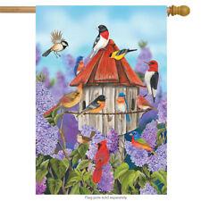 "Birds and Lilacs Spring House Flag Cardinals Bluebirds 28"" x 40"" Briarwood Lane"