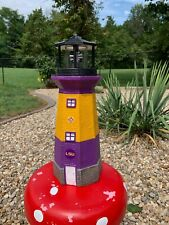 LSU Hand Painted-Solar Lighthouse-Original Design-Collectible- Go Tigers!