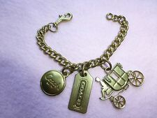 Coach Brass/Gold tone Coachman & Carriage handbag purse hang tag charms keychain