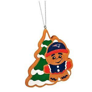 New England Patriots Gingerbread Man w/ Tree Christmas Tree Ornament MT14