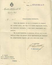 Lettera del Ministero della Real Casa con Messaggio di Re Vittorio Emanuele III