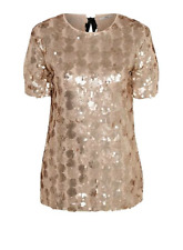 Ex Chainstore Christmas Gold Sequin Short Sleeve Top Size 12 - 24 (W10.24)
