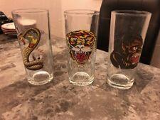 DON ED HARDY Set of 3 Glasses 6 Inches Tall Predators, Snake, etc