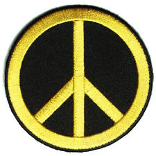 Embroidered CND Symbol Peace Yellow on Black Sew or Iron on Patch Biker Patch