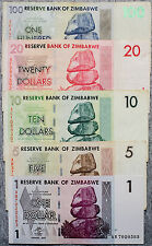 Set of 5 different Zimbabwe currency 2007 1 to 100 Dollars  nice circulated