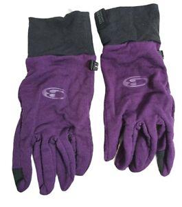 Icebreaker Merino Wool Glove Liner Adult Light Weight Size Large Purple Tech