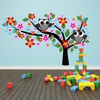 Wandtattoo Eulen Baum 190x115cm Comic Kinder Zimmer Animal Aufkleber Druck