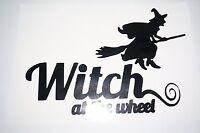 Bumper Vinyl Sticker Car Motorbike decal window art outdoor Witch At the wheel